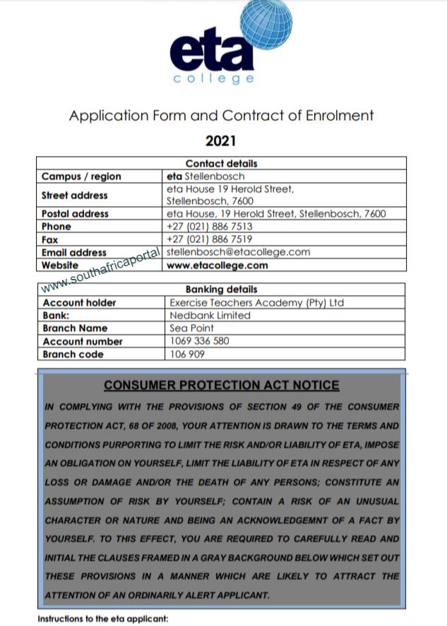 Eta College Application Form 2021