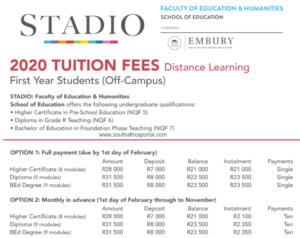Embury Institute for Higher Education Fees