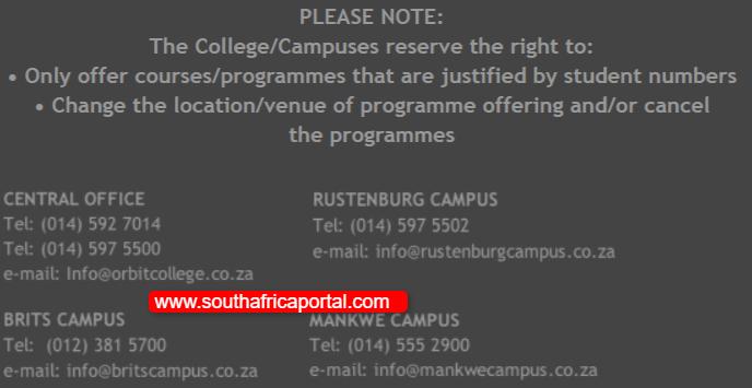 ORBIT TVET College Contact Details