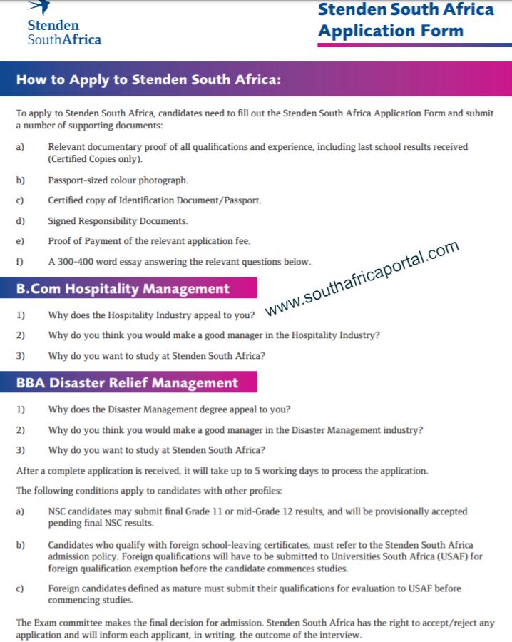 Stenden University Application Form